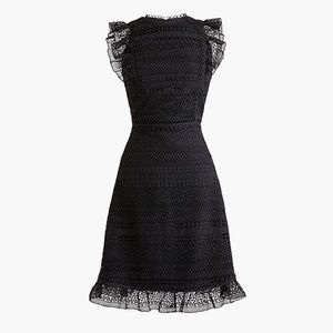 J. Crew black lace ruffle dress Size 8 NWT